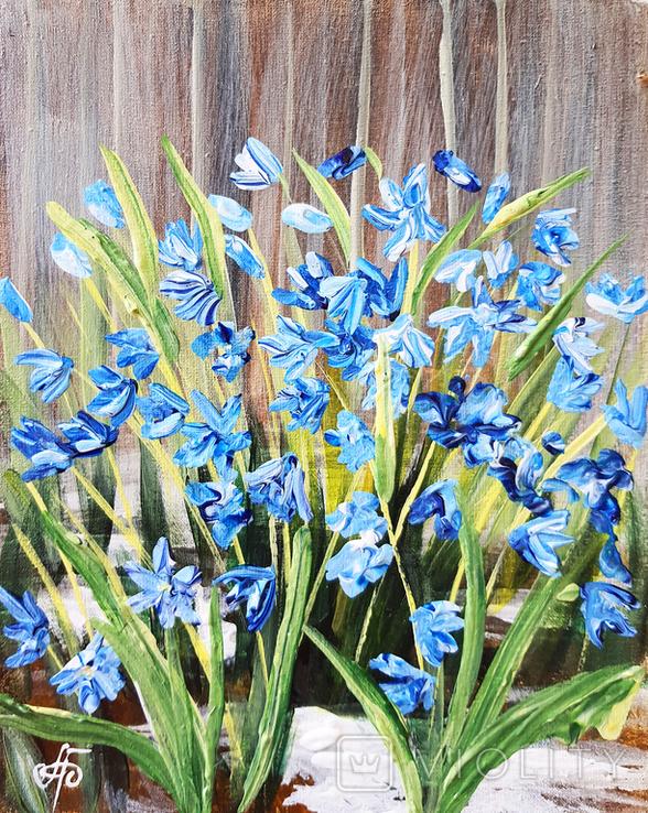 Картина, Перші квіти, 25х20 см. Живопис на полотні, фото №2
