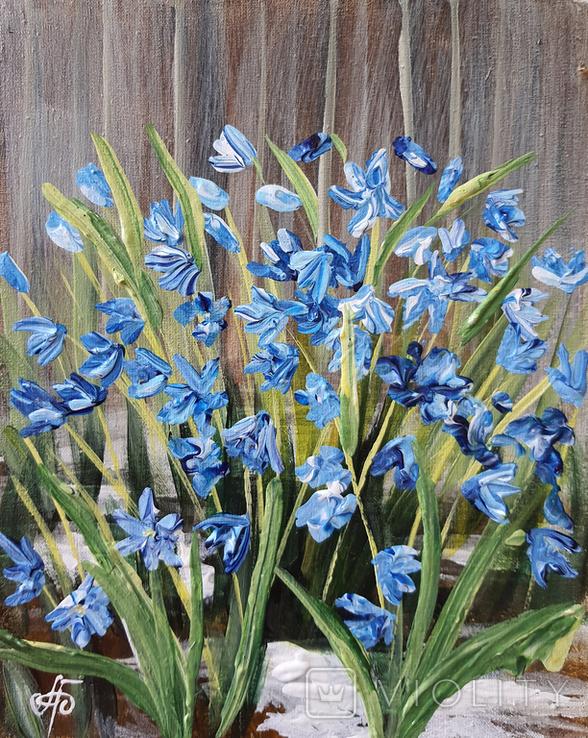 Картина, Перші квіти, 25х20 см. Живопис на полотні, фото №3