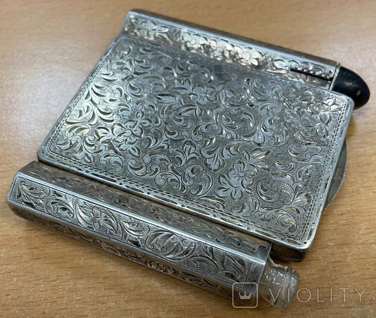 Серебряная пудреница с тубусом под помаду, фото №2