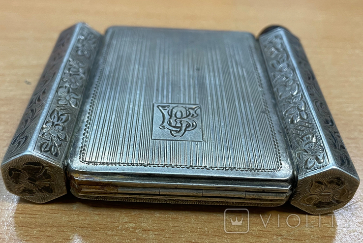 Серебряная пудреница с тубусом под помаду, фото №6