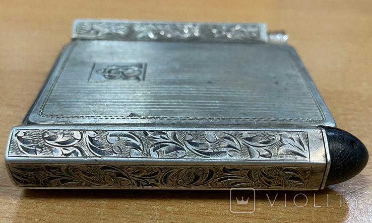Серебряная пудреница с тубусом под помаду, фото №8