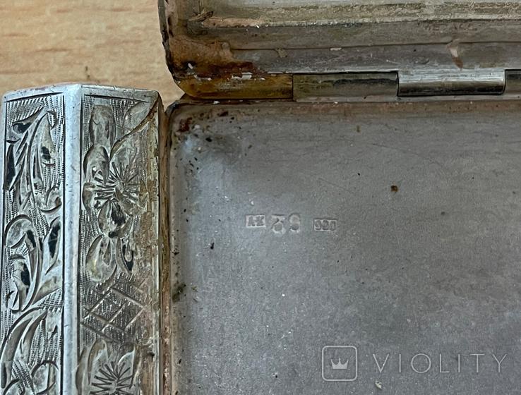 Серебряная пудреница с тубусом под помаду, фото №13