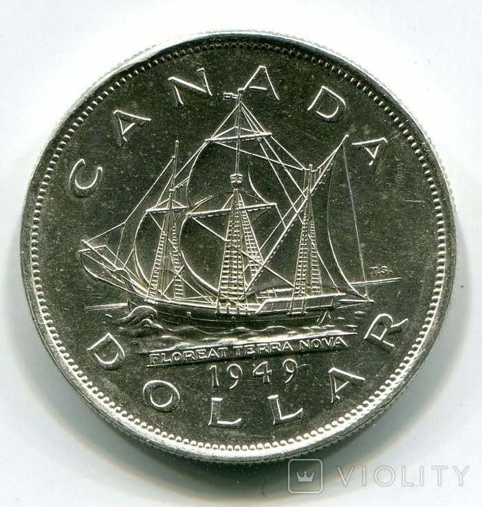 Канада 1 доллар 1949 г. Серебро СОХРАН. Корабль. Георг VI. Ньюфаундленд., фото №2