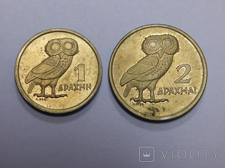 1 и 2 драхмы, 1973 г Греция, фото №2