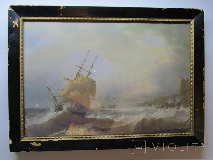 Корабли у берегов Ли. Джеймс Уилсон Кармайкл. Репродукция. 40х29,5 см., фото №3