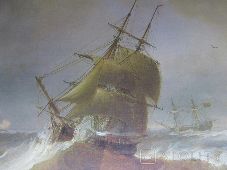 Корабли у берегов Ли. Джеймс Уилсон Кармайкл. Репродукция. 40х29,5 см., фото №4
