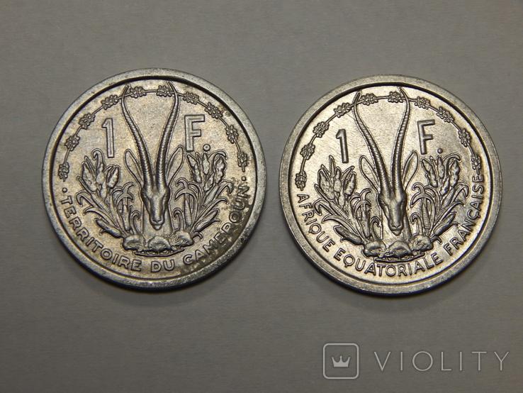 2 монеты по 1 франку, Французская Африка, 1948 г, фото №2