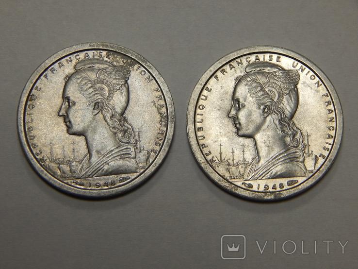 2 монеты по 1 франку, Французская Африка, 1948 г, фото №3