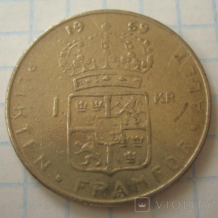 Швеция 1 крона, 1969, фото №2