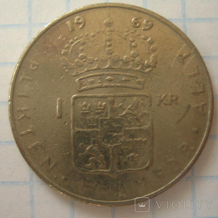 Швеция 1 крона, 1969, фото №3