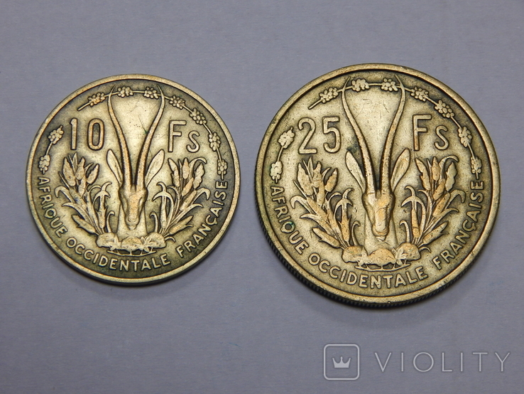 10 и 25 франков, 1956 г Французская Африка, фото №2