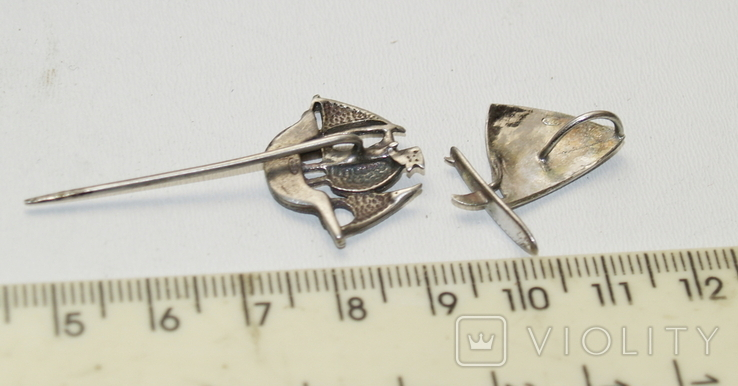 Заколка і підвіска Срібло Кораблики 4,56 грам, фото №4