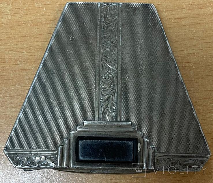 Серебряная пудреница 875 пробы, фото №3