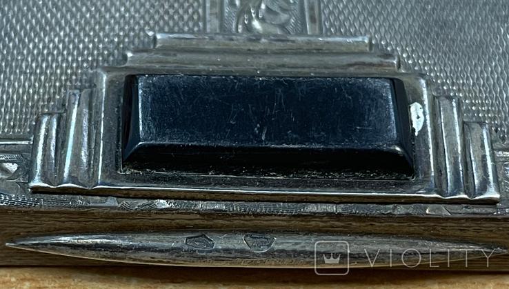 Серебряная пудреница 875 пробы, фото №7