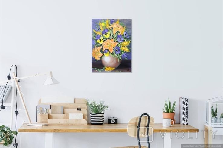 Картина, Букет в вазе, 30х40 см. Живопись на холсте, фото №5
