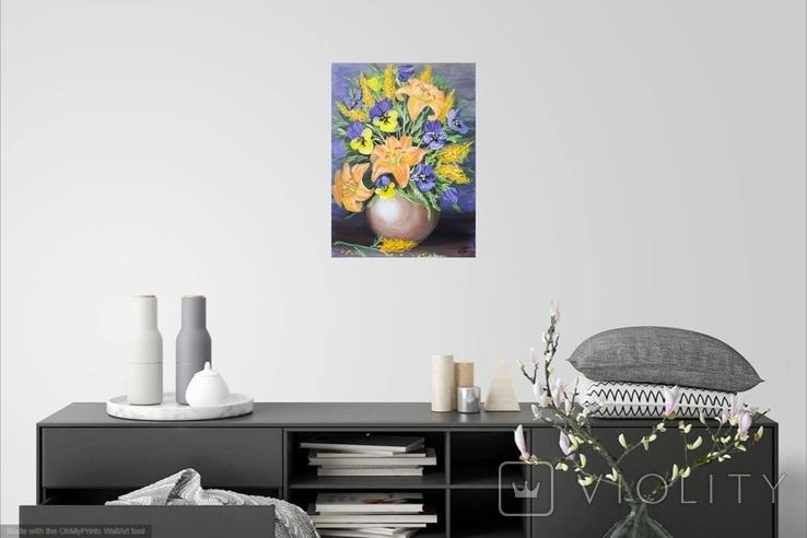Картина, Букет в вазе, 30х40 см. Живопись на холсте, фото №6