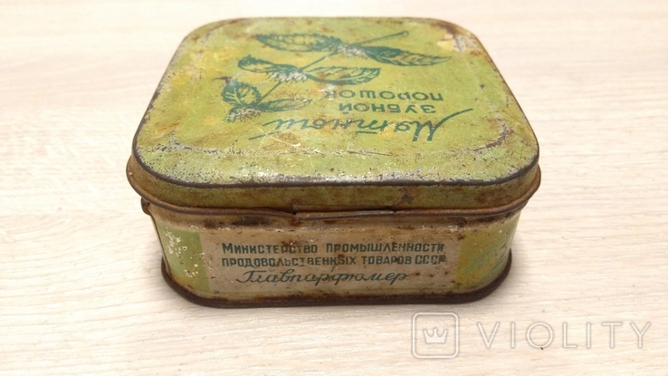 """Коробка """"Мятный зубной порошок"""" ( Главпарфюмер, фабрика """"Свобода"""", москва ), фото №3"""