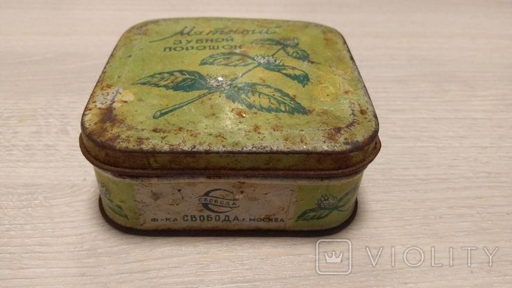 """Коробка """"Мятный зубной порошок"""" ( Главпарфюмер, фабрика """"Свобода"""", москва ), фото №4"""
