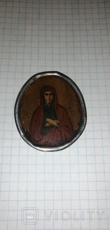 Икона БМ старинная. Металл. Серебро., фото №3