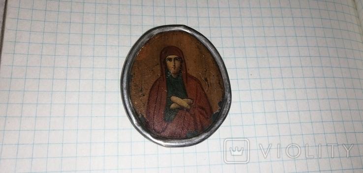 Икона БМ старинная. Металл. Серебро., фото №4