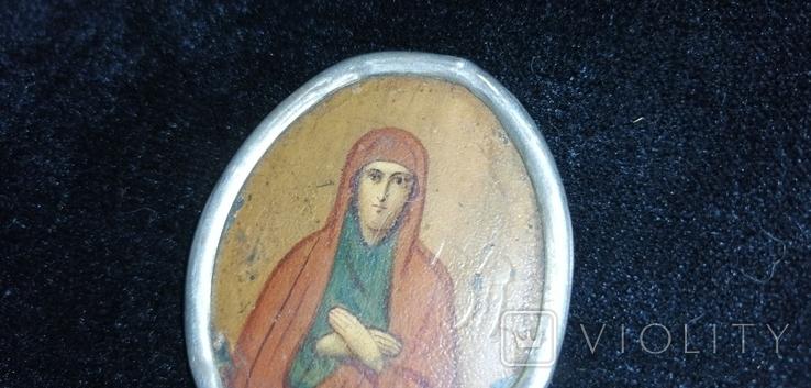 Икона БМ старинная. Металл. Серебро., фото №2