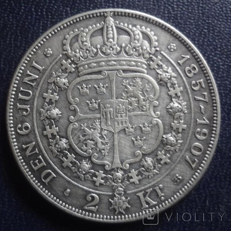 2 кроны 1907 Швеция серебро (1.2.34), фото №3