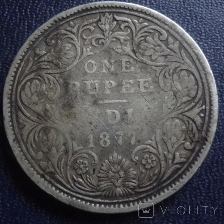 1 рупия 1877 Британская Индия серебро (1.2.35), фото №4
