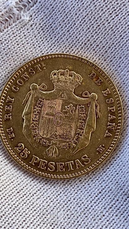 25 песет 1877 Испания Alfonso XII, фото №2