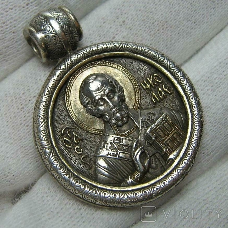Серебряный Кулон Святой Николай Чудотворец 12 Отроков Серебро 925 проба Позолота 299, фото №2