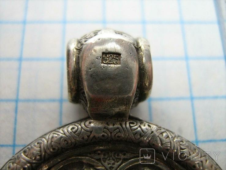 Серебряный Кулон Святой Николай Чудотворец 12 Отроков Серебро 925 проба Позолота 299, фото №5