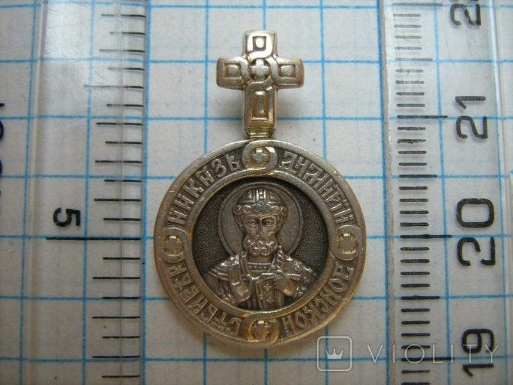 Серебряный Кулон Подвеска Святой князь Дмитрий Ангел Хранитель Серебро 925 проба 284, фото №4