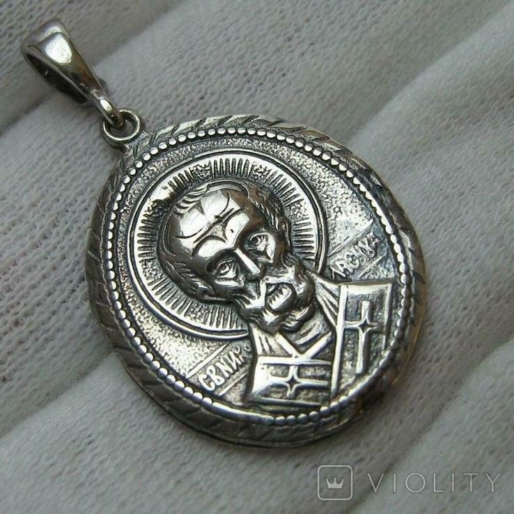 Новый Серебряный Кулон Подвеска Святой Николай Чудотворец Никола Серебро 925 проба 428, фото №2