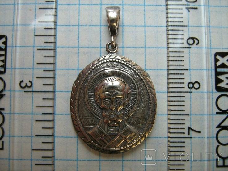 Новый Серебряный Кулон Подвеска Святой Николай Чудотворец Никола Серебро 925 проба 428, фото №4