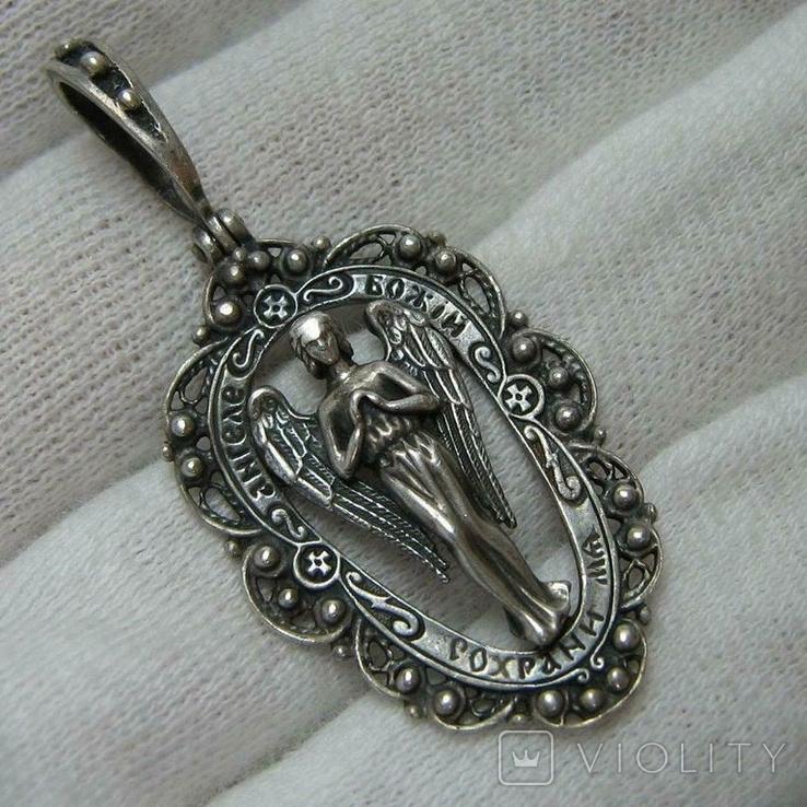 Серебряный Кулон Подвеска Святой Ангел Хранитель Скань Зернь Крылья Серебро 925 проба 283, фото №2