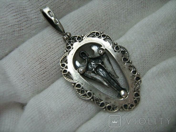Серебряный Кулон Подвеска Святой Ангел Хранитель Скань Зернь Крылья Серебро 925 проба 283, фото №3