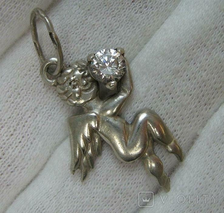 Серебряный Кулон Ангел Хранитель Ангелочек Купидон Пути Крылья Серебро 925 проба 278, фото №2