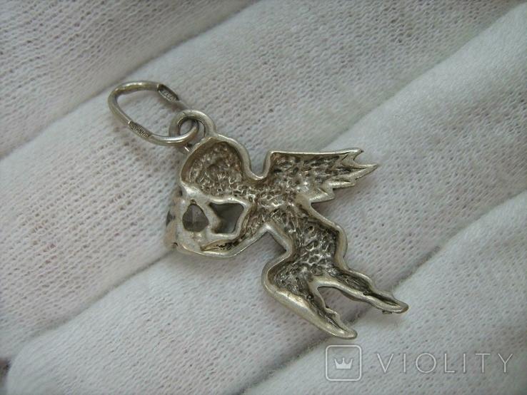 Серебряный Кулон Ангел Хранитель Ангелочек Купидон Пути Крылья Серебро 925 проба 278, фото №3
