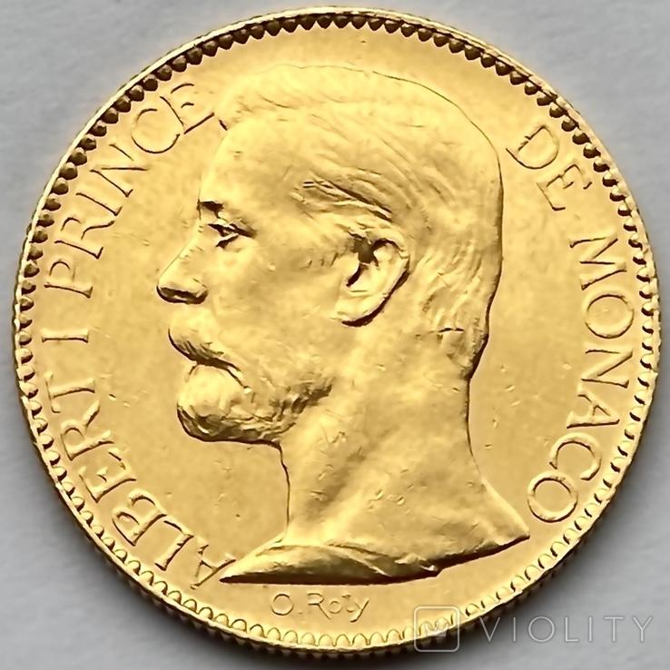 100 франков. 1901. Альберт I. Монако (золото 900, вес 32,24 г), фото №2