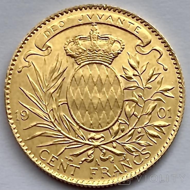 100 франков. 1901. Альберт I. Монако (золото 900, вес 32,24 г), фото №8