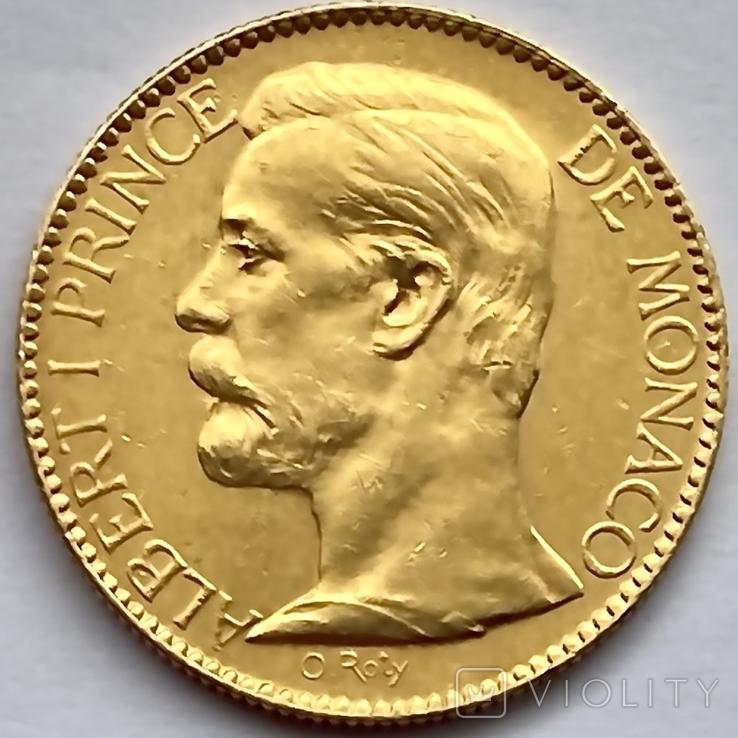 100 франков. 1901. Альберт I. Монако (золото 900, вес 32,24 г), фото №9
