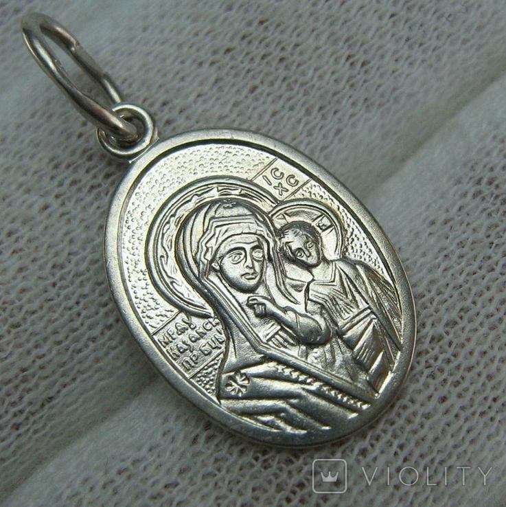 Серебряный Кулон Подвеска Образок Богородица Казанская Иисус Христос Серебро 925 проба 738, фото №2