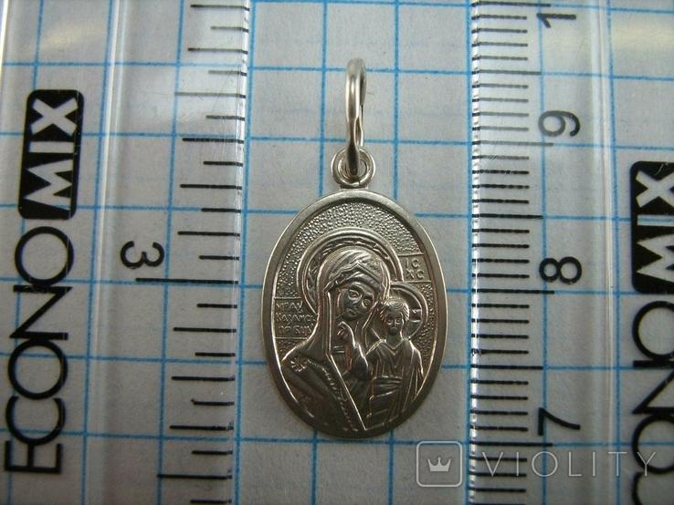 Серебряный Кулон Подвеска Образок Богородица Казанская Иисус Христос Серебро 925 проба 738, фото №4