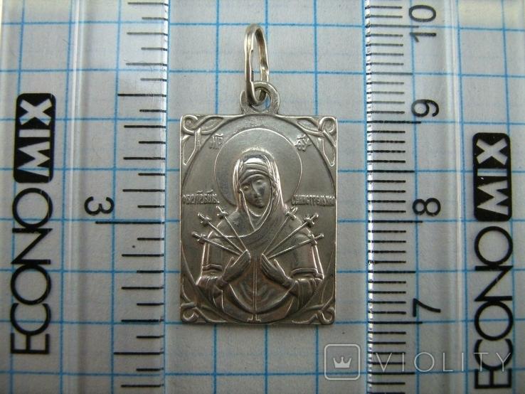 Серебряный Кулон Богородица Семистрельная Умягчение Злых Сердец Серебро 925 проба 768, фото №4
