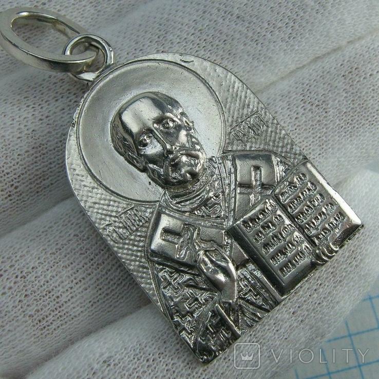 Серебряный Кулон Большой Подвеска Святой Николай Чудотворец Никола Серебро 925 проба 873, фото №2