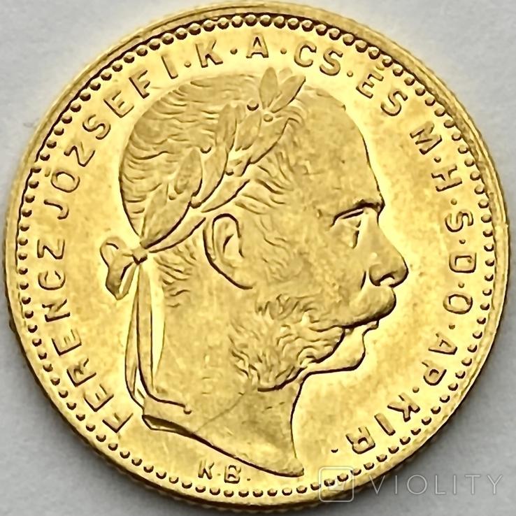 20 франков 8 форинтов. 1884. Франц Иосиф I. Австро-Венгрия (золото 900, вес 6,45 г), фото №2