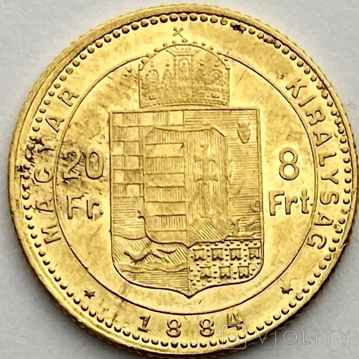 20 франков 8 форинтов. 1884. Франц Иосиф I. Австро-Венгрия (золото 900, вес 6,45 г), фото №3