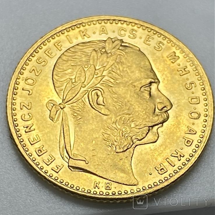 20 франков 8 форинтов. 1884. Франц Иосиф I. Австро-Венгрия (золото 900, вес 6,45 г), фото №12