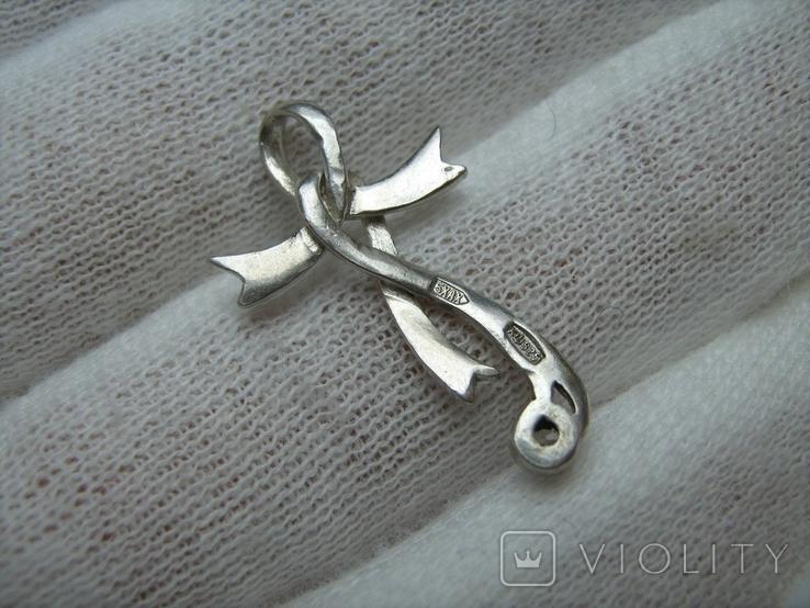 Серебряный Кулон Подвеска Лента Бант Крест Крестик Стилизация Камень 925 проба Серебро 549, фото №3