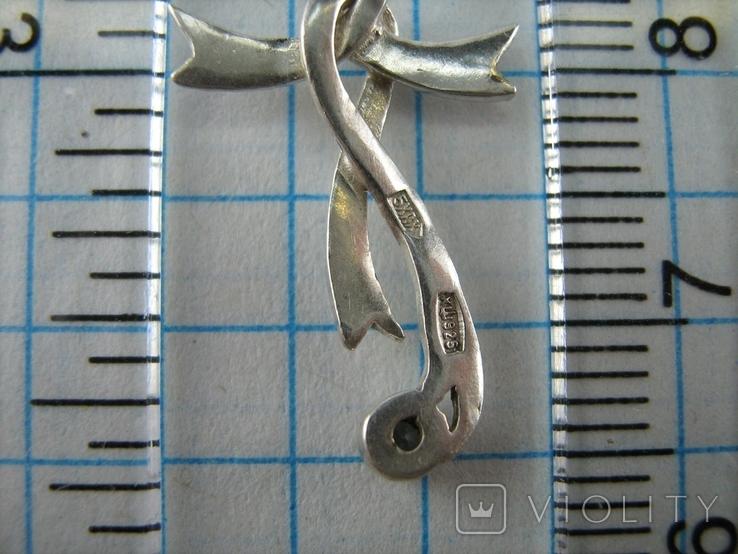 Серебряный Кулон Подвеска Лента Бант Крест Крестик Стилизация Камень 925 проба Серебро 549, фото №6