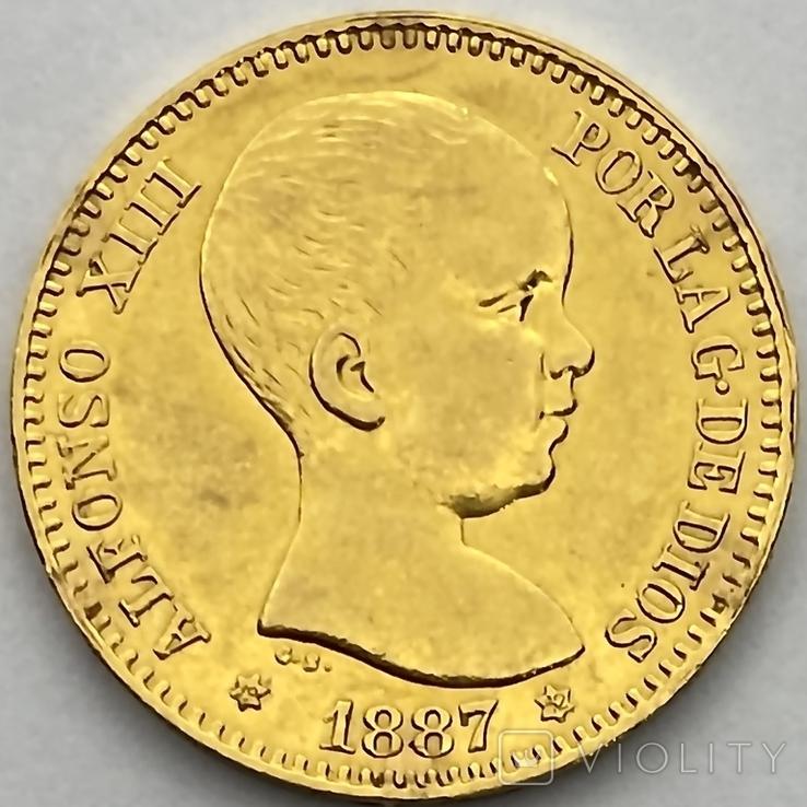 20 песет. 1887. Альфонсо XIII. Испания (золото 900, вес 6,46 г), фото №4